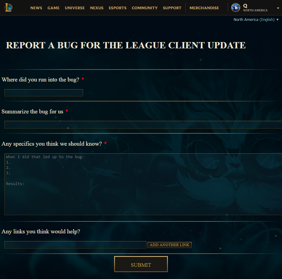 report a bug league of legends support report a bug league of legends support